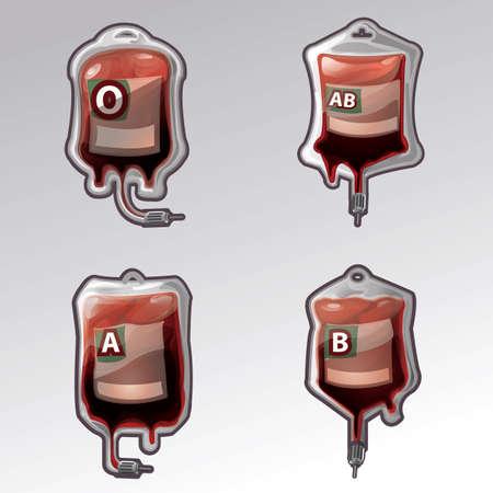 verzameling bloedzakken met bloedgroepen Stock Illustratie