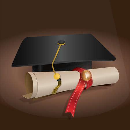 Cappello di laurea e certificato Archivio Fotografico - 81470730