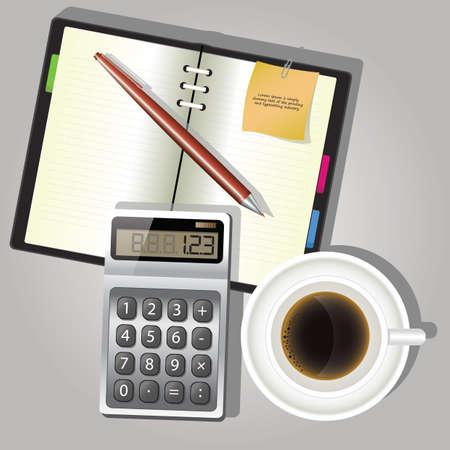 set of office equipment Illustration