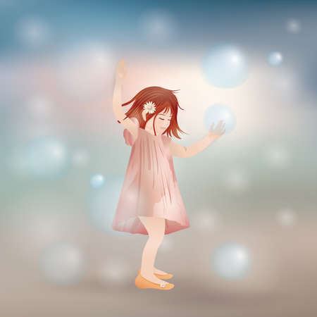 girl playing with bubbles Vector Illustratie