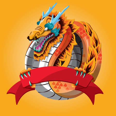 chinese dragon with banner