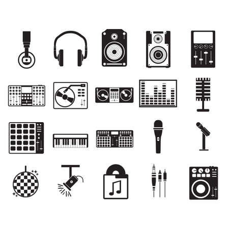 Sammlung von Musikikonen Vektorgrafik