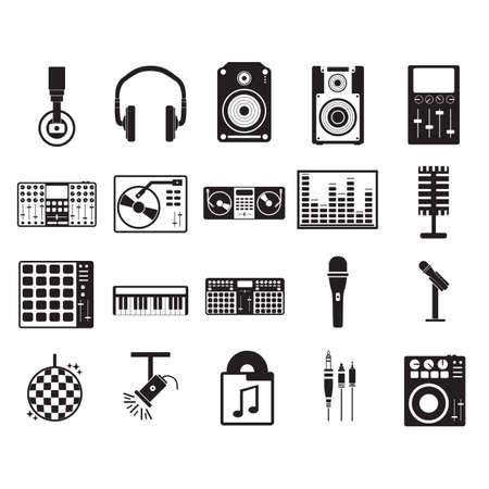 verzameling van muziek iconen Vector Illustratie