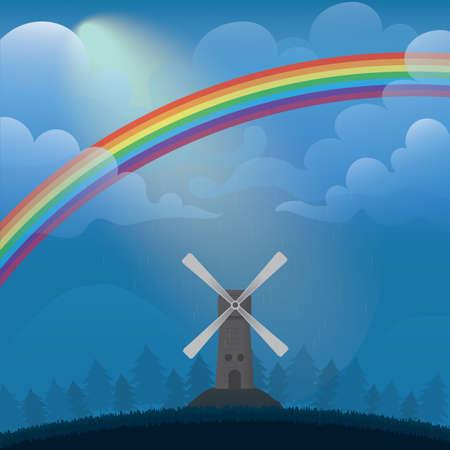 風車のある風景します。  イラスト・ベクター素材