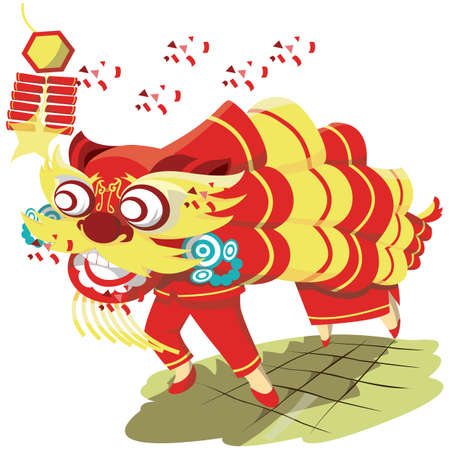 chinese lion dance Illustration