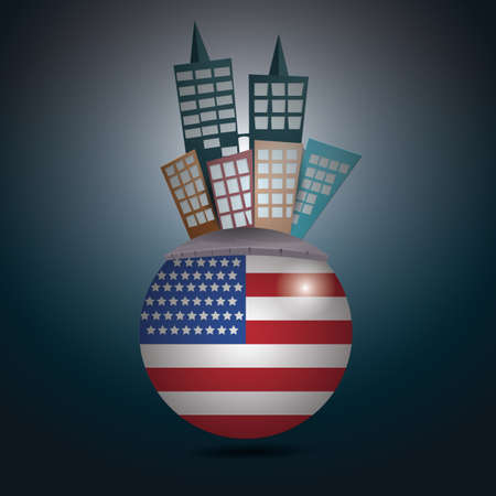 Buildings on a rounded usa flag