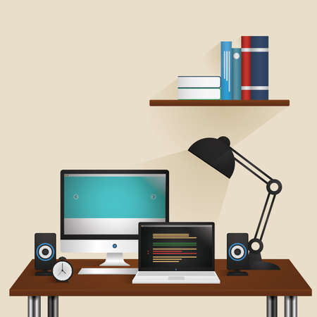Desktop computer and laptop on a working table Illustration