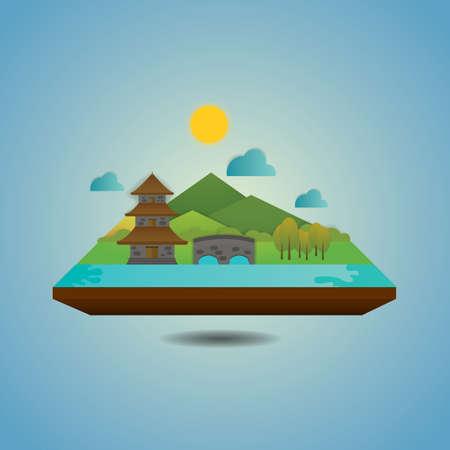 pagoda landscape Ilustrace