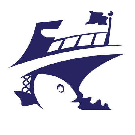 Een cruiseschip met een vissenillustratie.