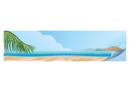 ビーチのバナー イラスト。