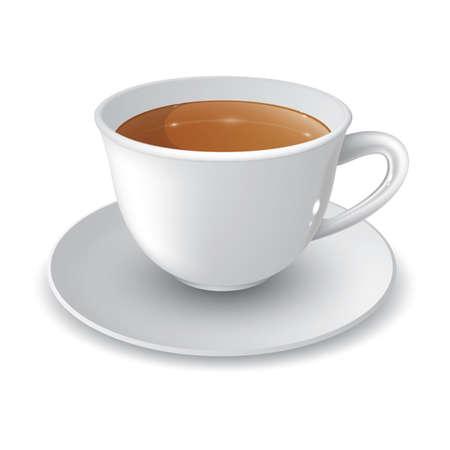 taza de cafe con platillo Ilustración de vector