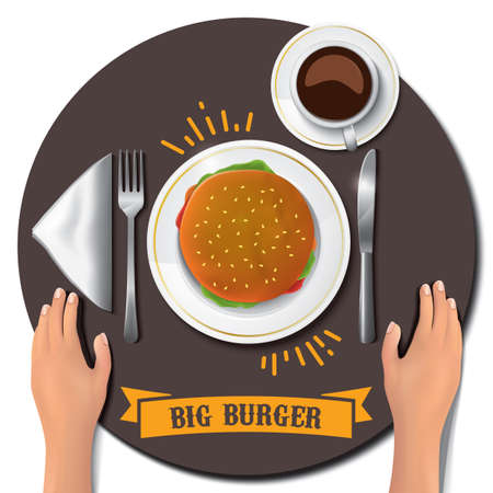 big burger on table with hands Ilustração