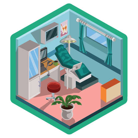 Isometric dental clinic design Ilustrace