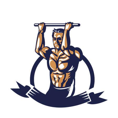 Bodybuilder affiche d'extension de câble de traction Banque d'images - 81589132