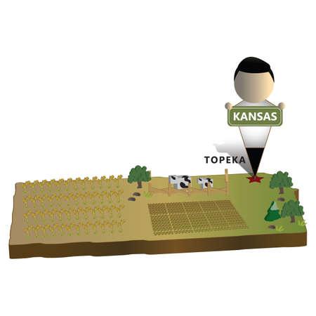 mapa del estado de kansas