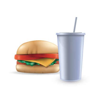 清涼飲料水とハンバーガー  イラスト・ベクター素材