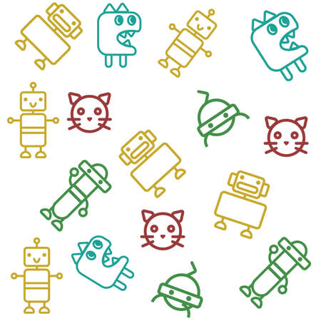 set of outline characters background