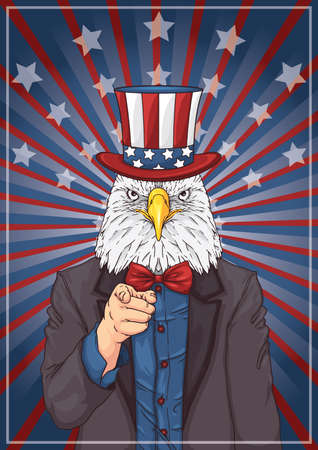 eagle wearing uncle sam's hat