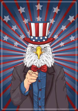 eagle wearing uncle sams hat Illustration