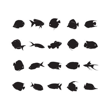 set of fish silhouettes 版權商用圖片 - 81536057