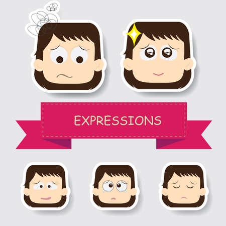 girl with different expression Ilustrace