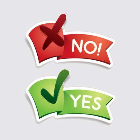 si y no pancartas Ilustración de vector
