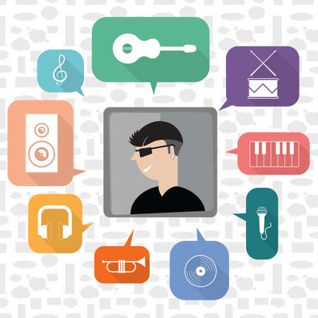 A musician with music icons illustration.