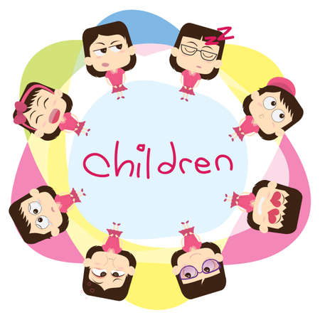 children with expressions 向量圖像