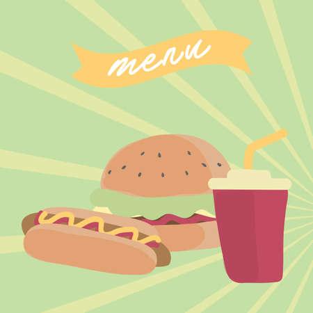 A fast food menu illustration. Illusztráció