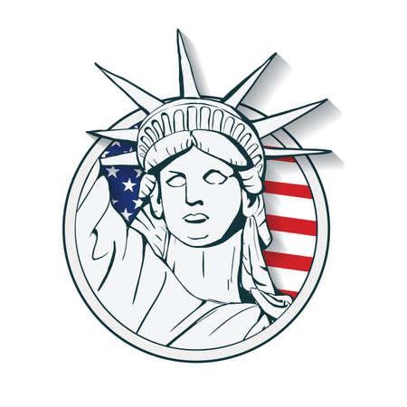 statue of liberty label Vectores