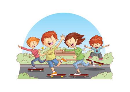 friends skateboarding Illusztráció
