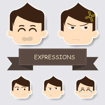 niño con expresión diferente. Ilustración de vector