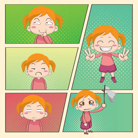 girl with different expression Illustration
