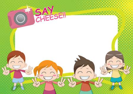 grinning children Stock Illustratie