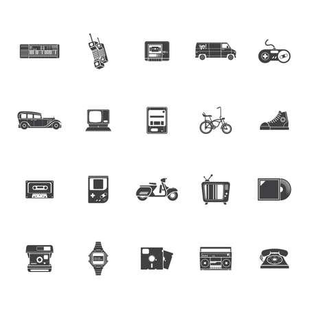 A retro technology icons illustration. Çizim