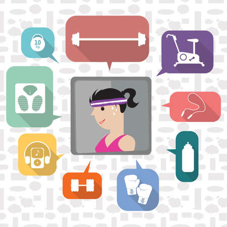 A girl with exercise icons illustration.