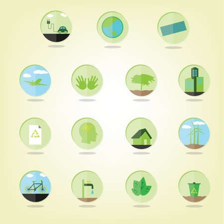 A set of eco green icons illustration. 向量圖像