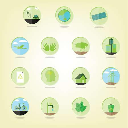 A set of eco green icons illustration. Çizim