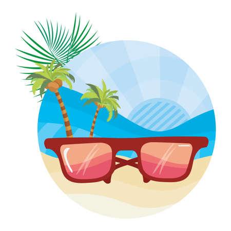 Sunglasses on the beach Illustration