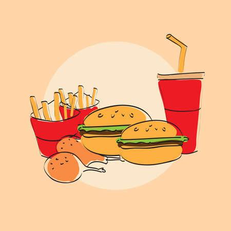 A fast food menu card illustration. Çizim