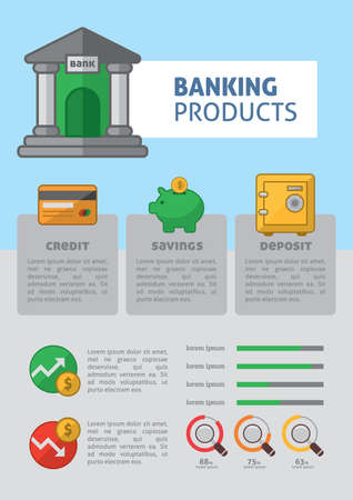 Infographic of banking products Illustration