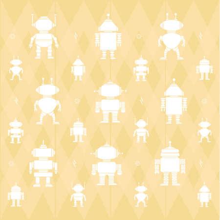 ロボット パターン背景イラスト。  イラスト・ベクター素材