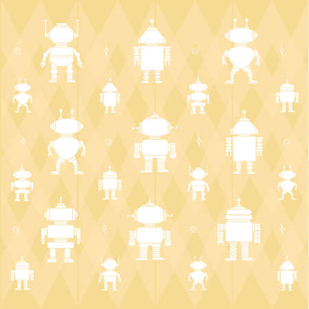 A robot pattern background illustration. Çizim