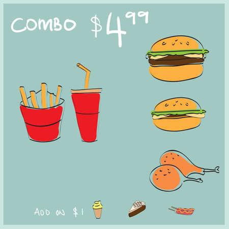 Een illustratie van het de maaltijdmenu van het snel voedsel combo. Stock Illustratie