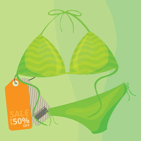 Bikini with sale tag Illusztráció