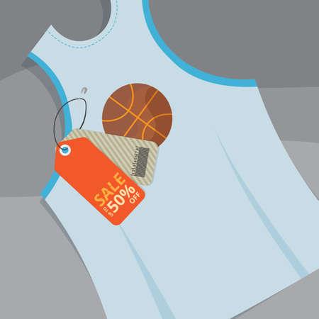 バスケット ボールの販売タグ付きタンクトップ  イラスト・ベクター素材