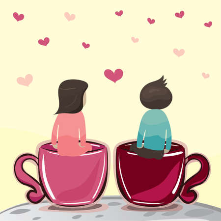 couple sitting in giant teacup Illustration