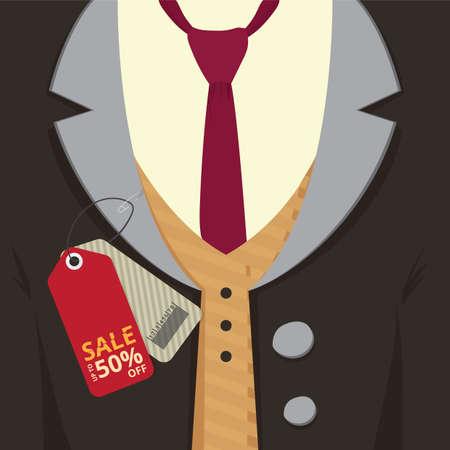 판매 태그가있는 외투 일러스트
