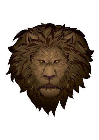 An angry lion face illustration. Ilustração