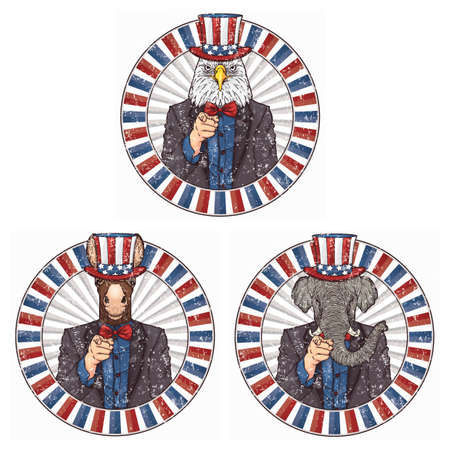 animals wearing uncle sams hat Illustration